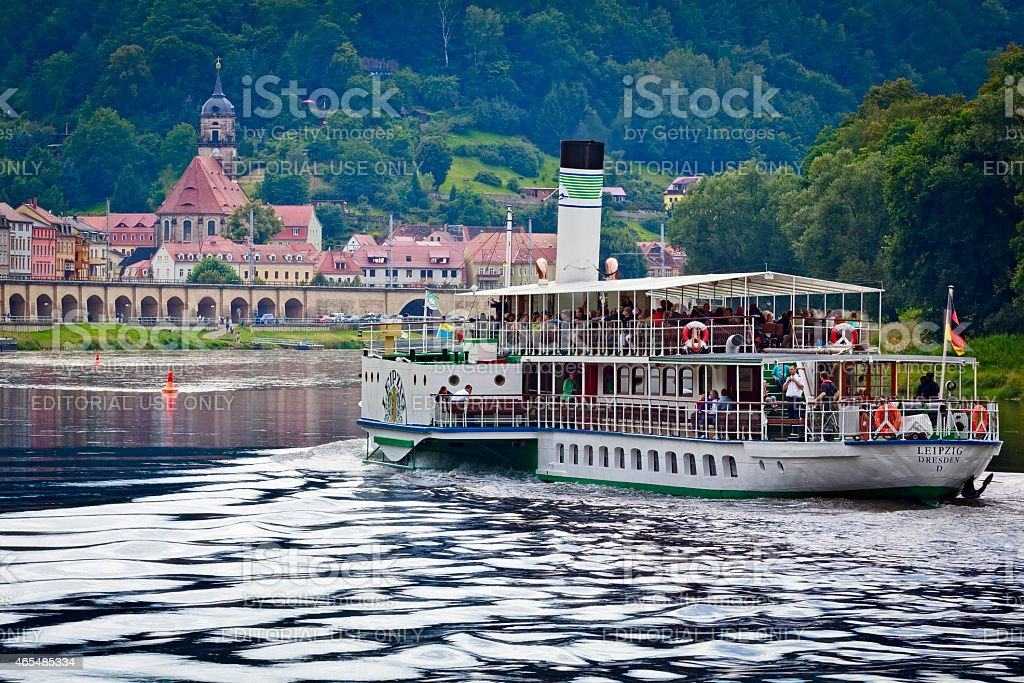 Steamboat on the River Elbe, Germany stock photo