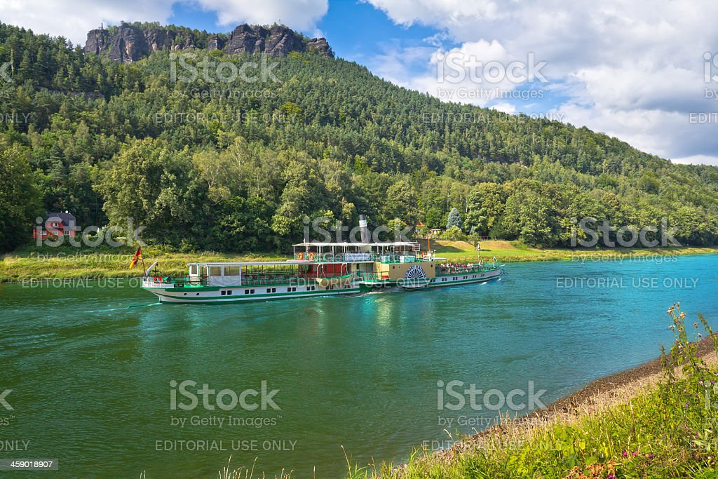 Steamboat on the River Elbe in Saxon Switzerland stock photo