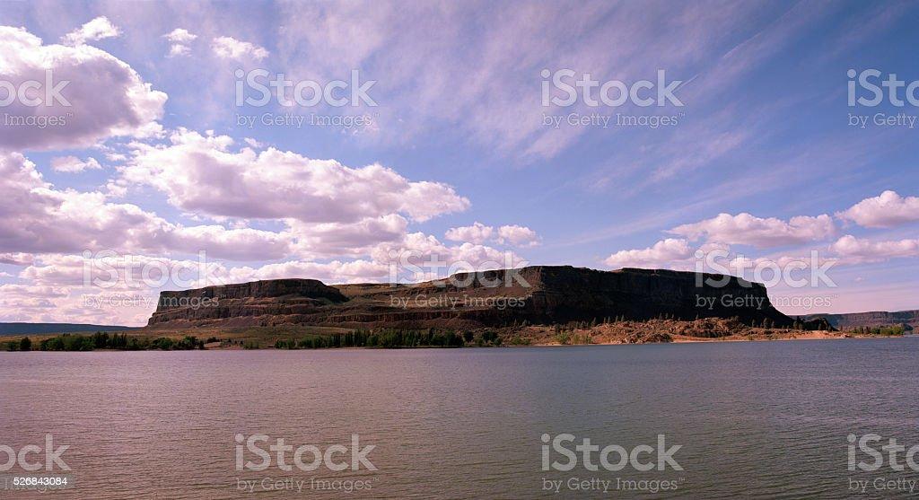 Steamboat Rock, Grand Coulee, Washington stock photo