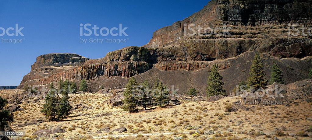 Steamboat Rock, Grand Coulee, Washington, United States stock photo