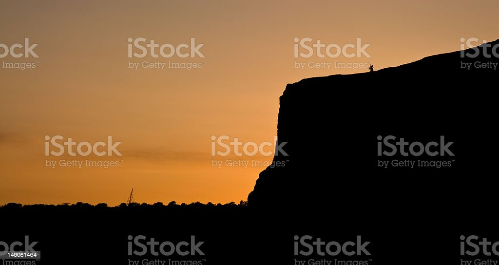 Steamboat Rock Silhouette at Sunset stock photo