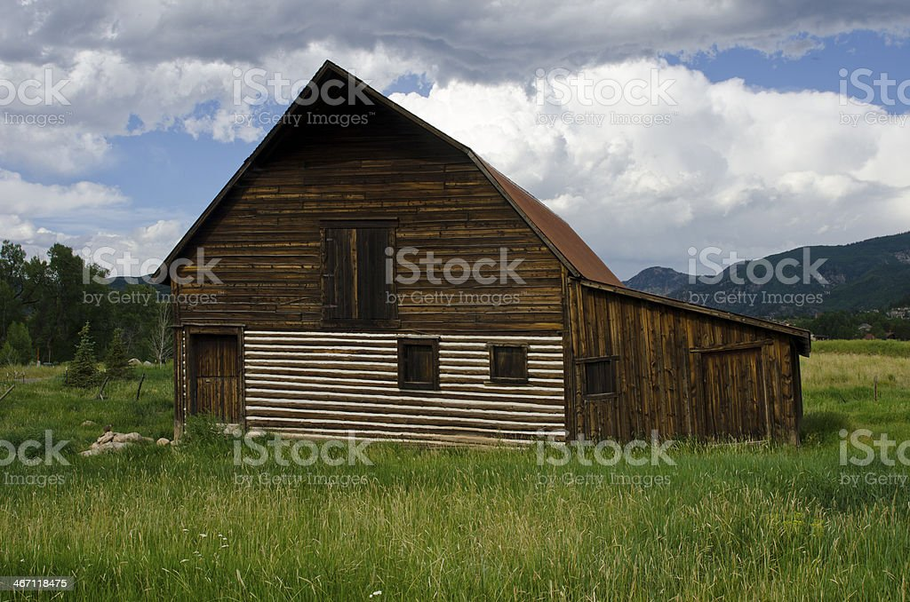 Steamboat Springs Barn and Oncoming Storm royalty-free stock photo