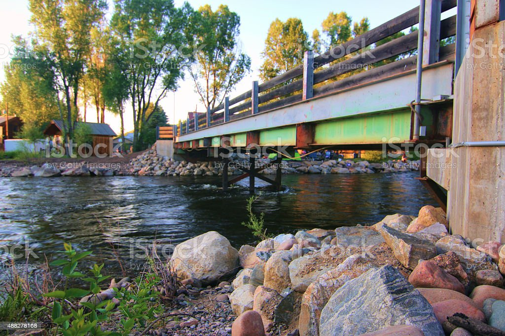 Steamboat Springs, Colorado Campground Bridge stock photo