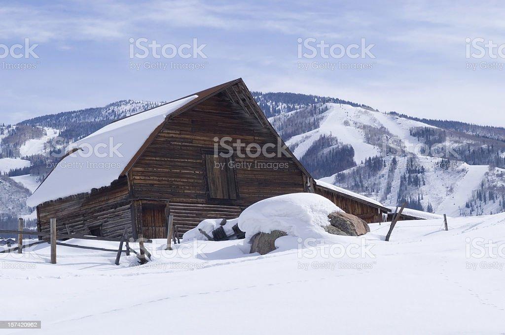 Steamboat Springs Ski Resort and Barn stock photo
