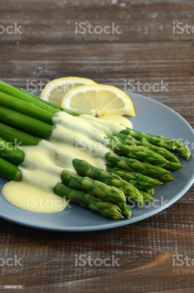 Steamed Asparagus and Hollandaise Sauce stock photo