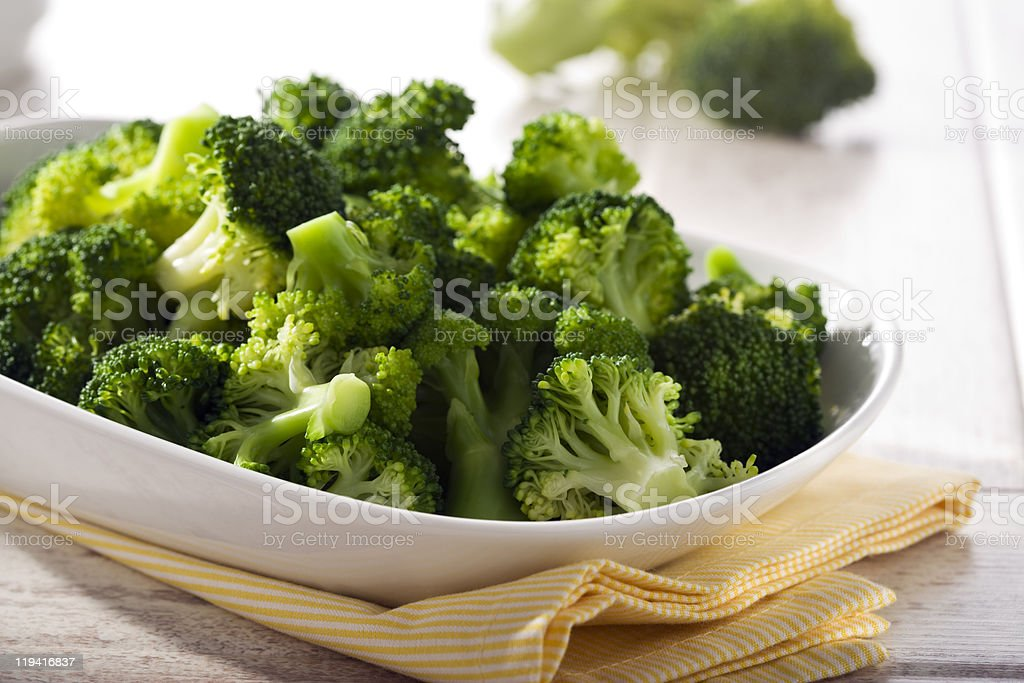 steamed broccoli stock photo