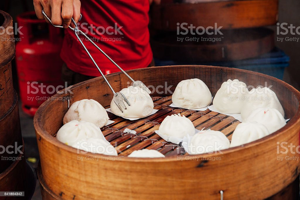 Steamed buns food stall in Chinatown, Kuala Lumpur, Malaysia stock photo