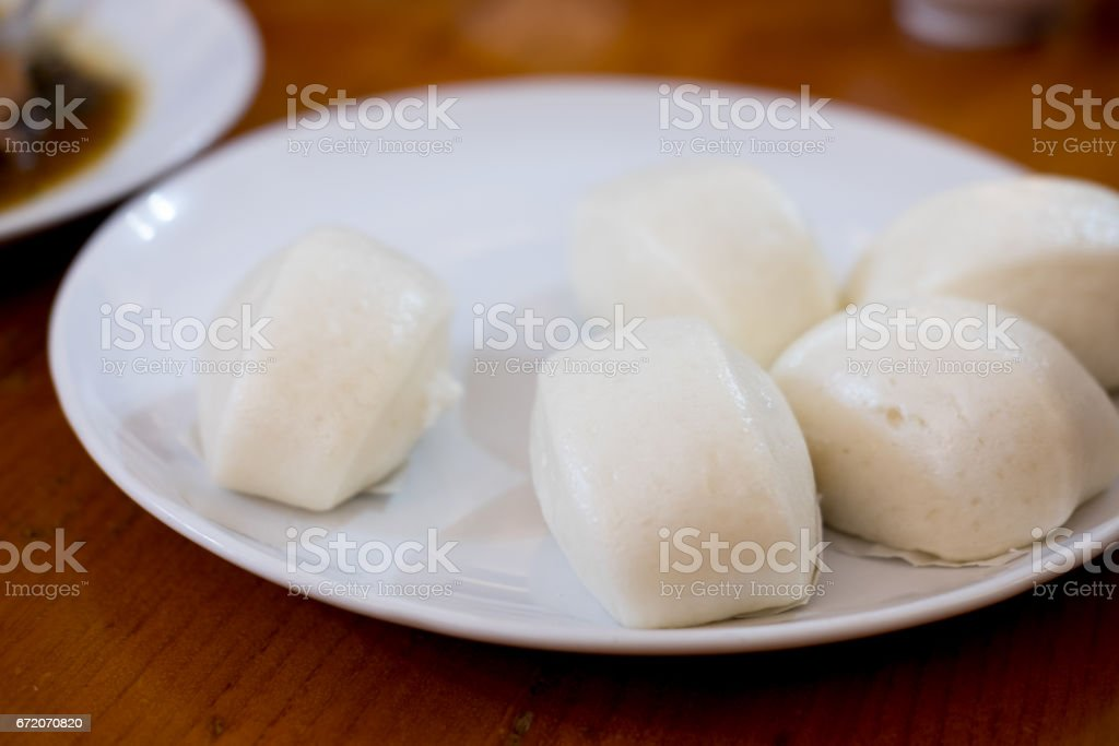 Steamed Chinese bun on the dish stock photo
