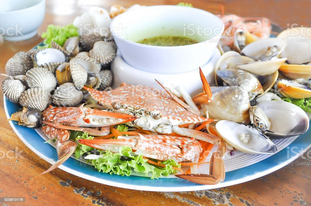 steamed crab and steamed shell stock photo