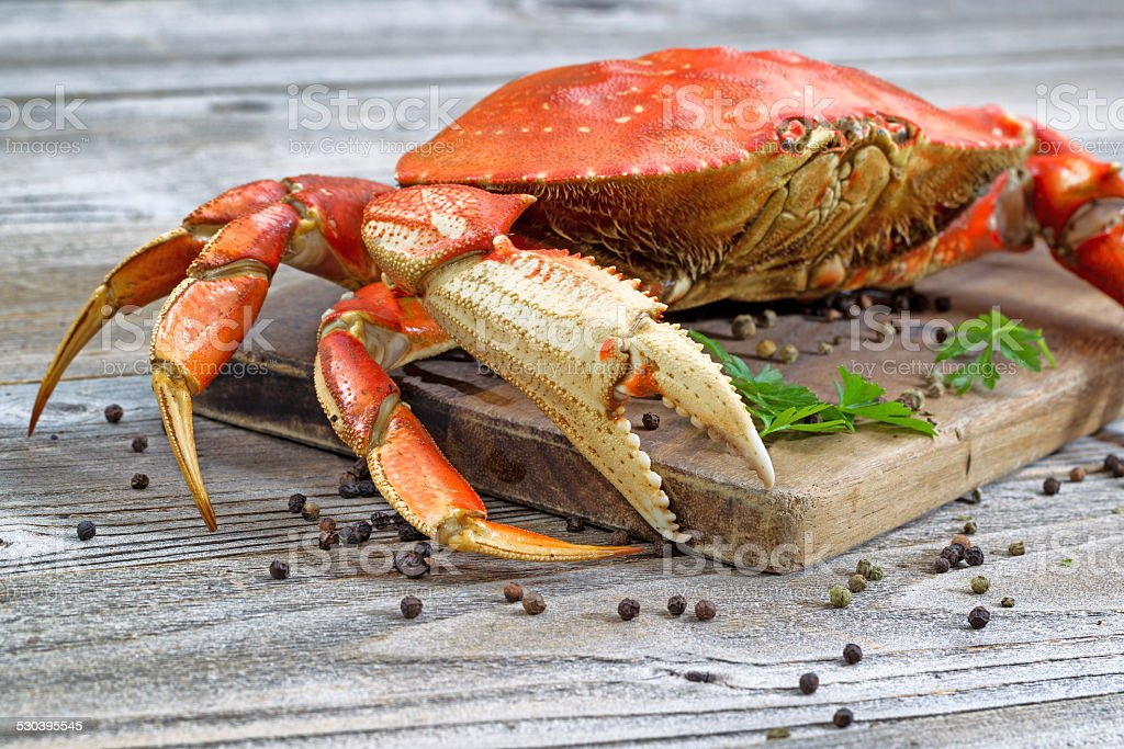Steamed Crab on Server Board stock photo