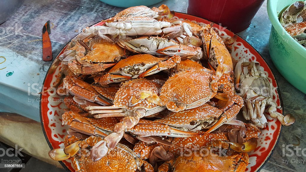Steamed crab on tray stock photo