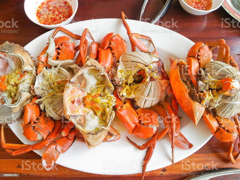 Steamed crabs and crab's spawn stock photo