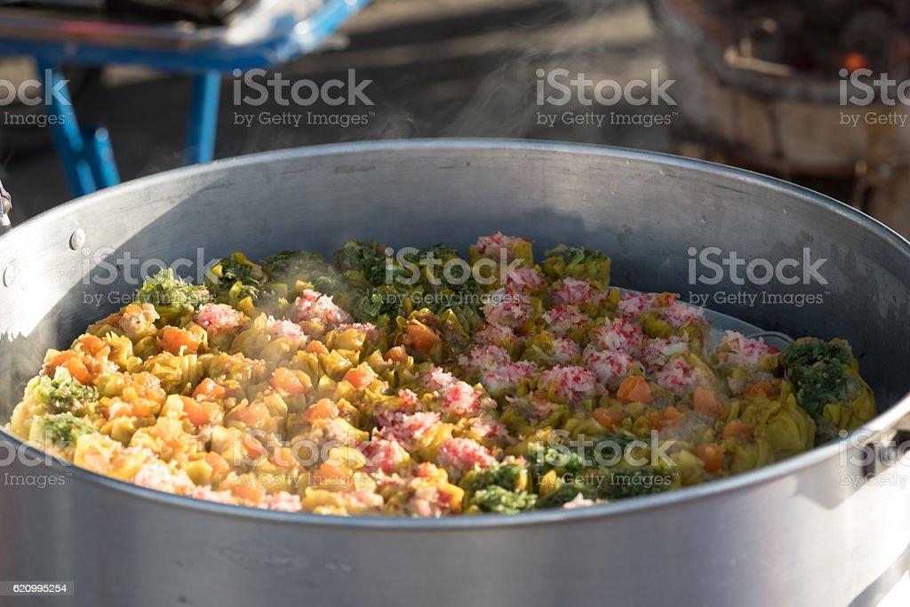 steamed dumpling stock photo
