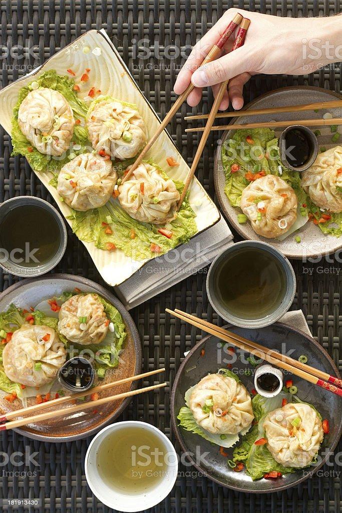 steamed dumplings - hand stock photo