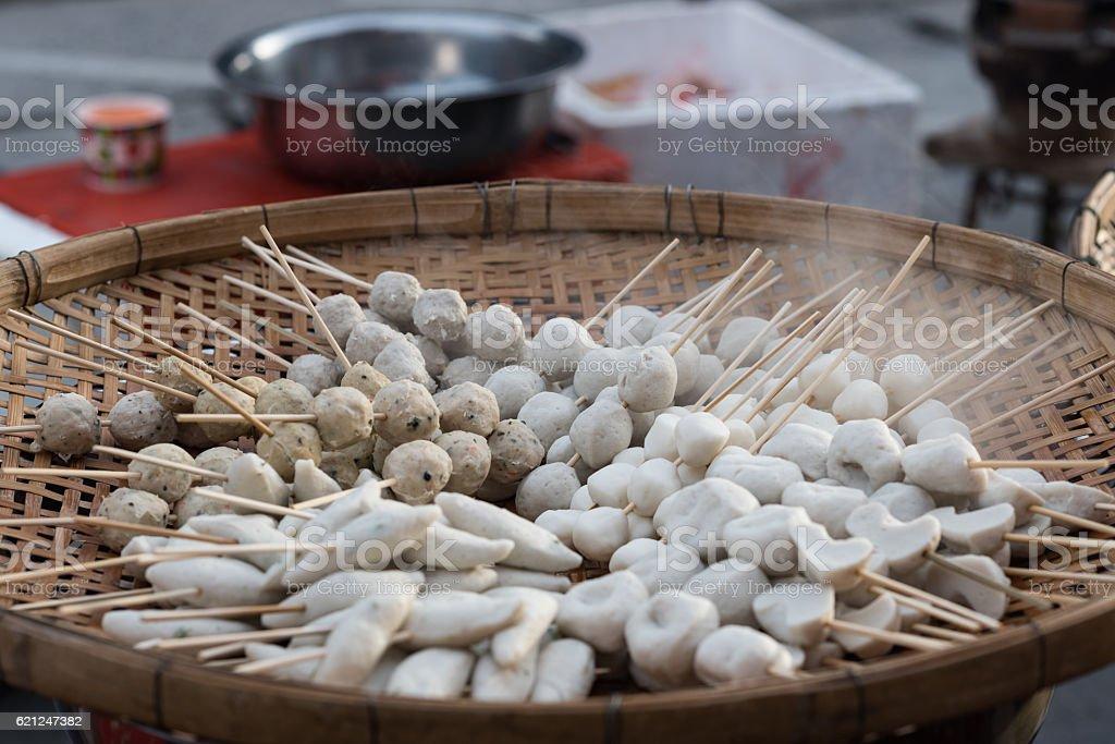 steamed fishball stock photo