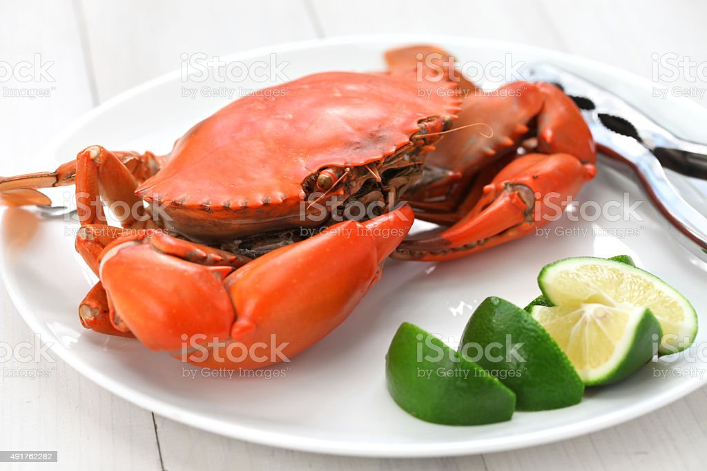 steamed mud crab, male stock photo