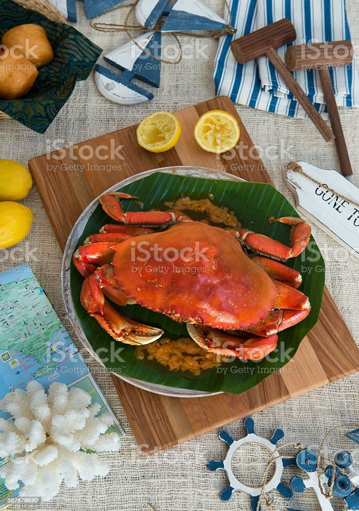 Steamed Mud Crab stock photo