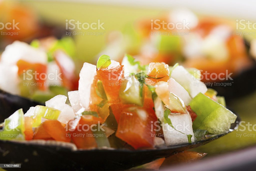 Steamed mussel with vegetable mince royalty-free stock photo
