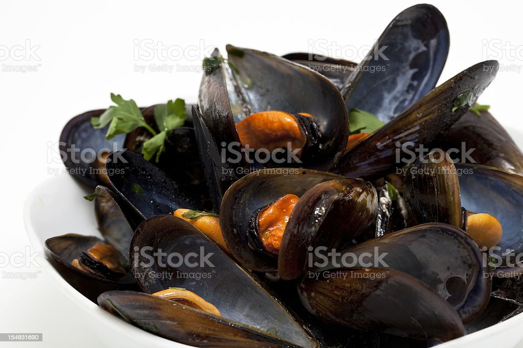 steamed mussels royalty-free stock photo