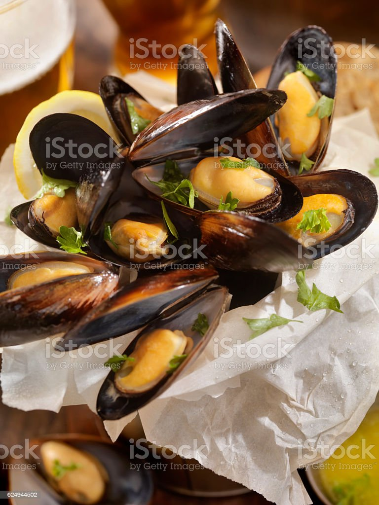 Steamed Mussels stock photo