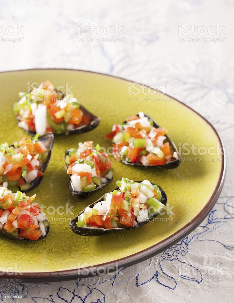 Steamed mussels with vegetable mince royalty-free stock photo