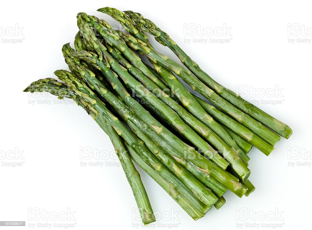 Steamed organic green asparagus royalty-free stock photo