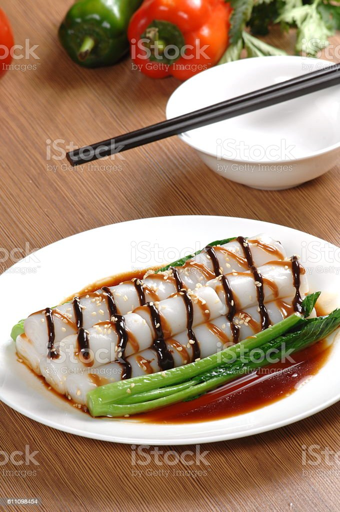 steamed rice noodle roll with vegetable  (斋肠粉) stock photo
