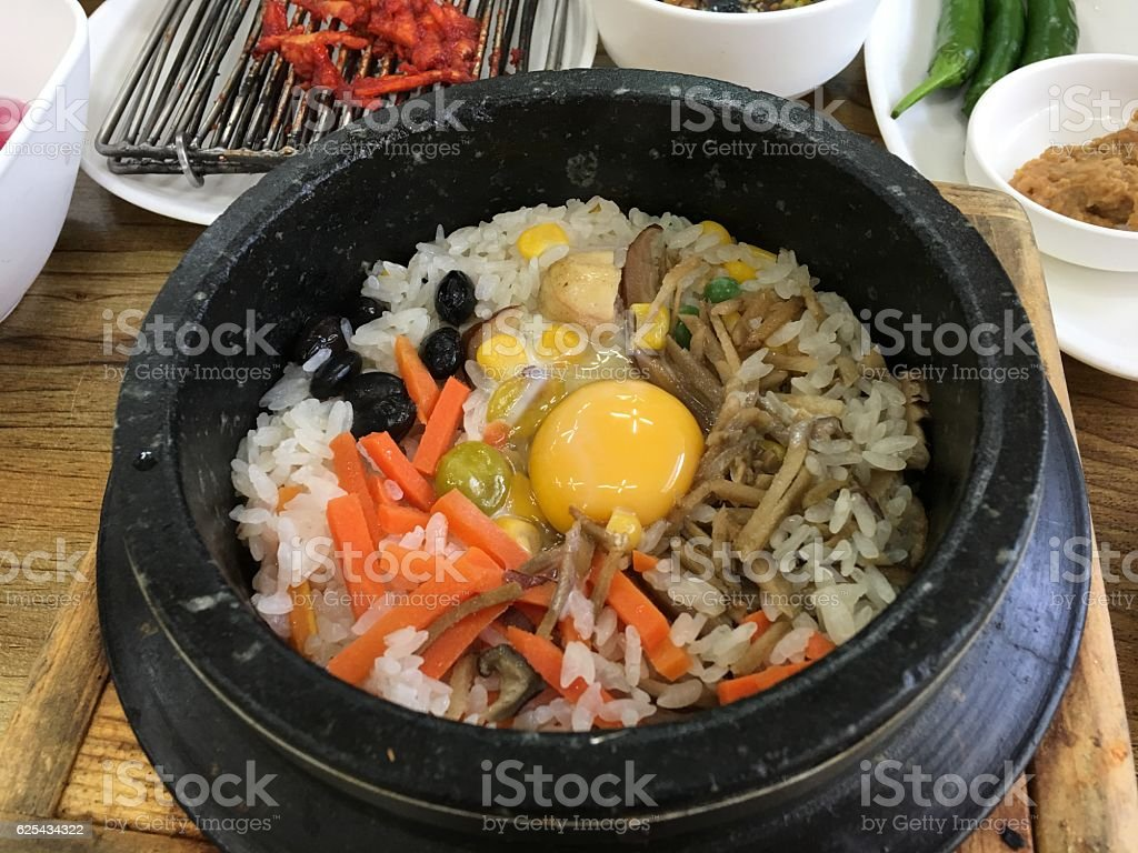 steamed rice pot stock photo