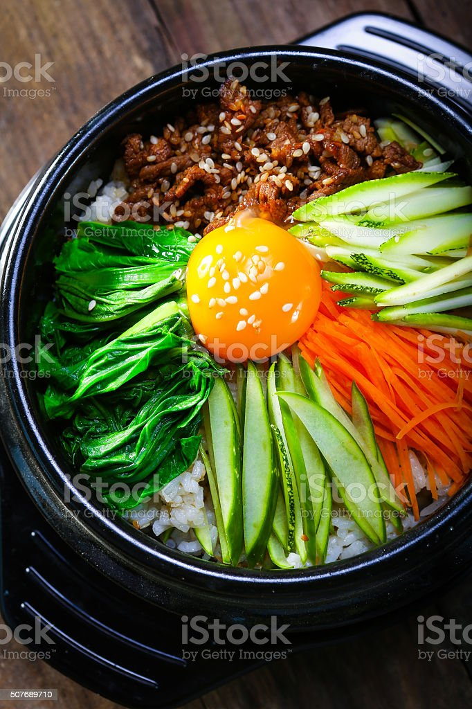 Steamed Rice pot with vegetables and eeg korea style stock photo