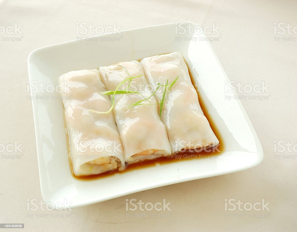 Steamed rice roll with shrimp stock photo