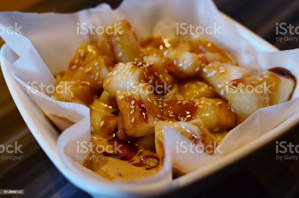 Steamed rice rolls with sesame stock photo