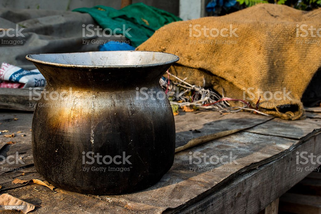 Steamed rice steamer villagers stock photo
