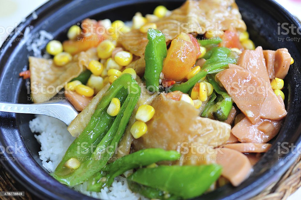 Steamed rice with vegetables and ham royalty-free stock photo