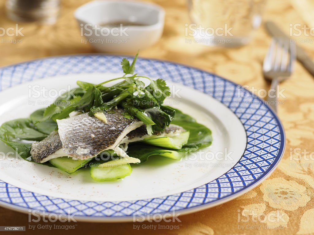 Steamed Seabass stock photo