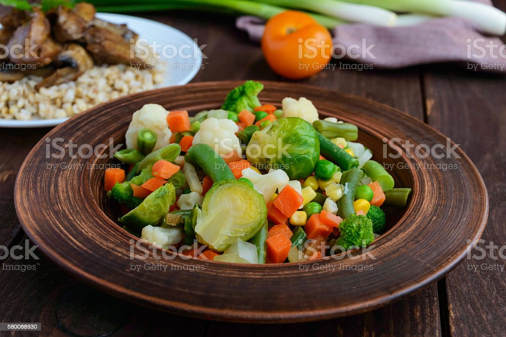 Steamed summer vegetables stock photo