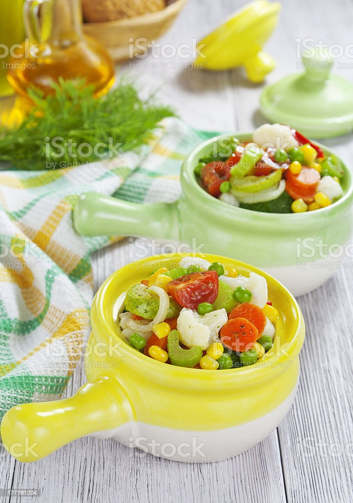Steamed vegetables in pots royalty-free stock photo