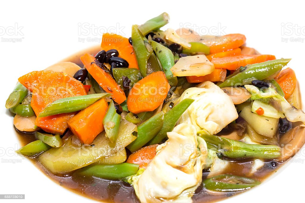 steamed vegetables in soy sauce stock photo