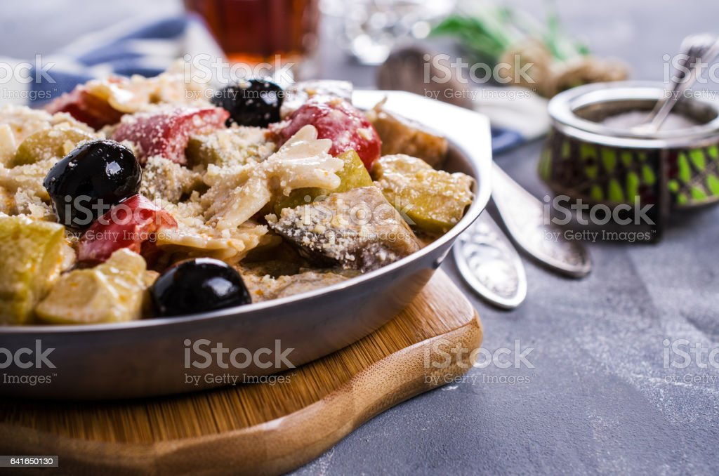 Steamed vegetables with pasta stock photo