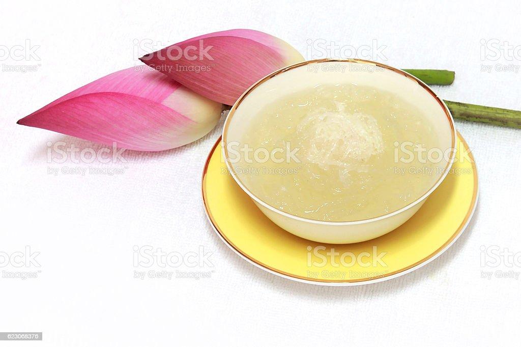 Steamed White Bird Nest in ceramic cup stock photo