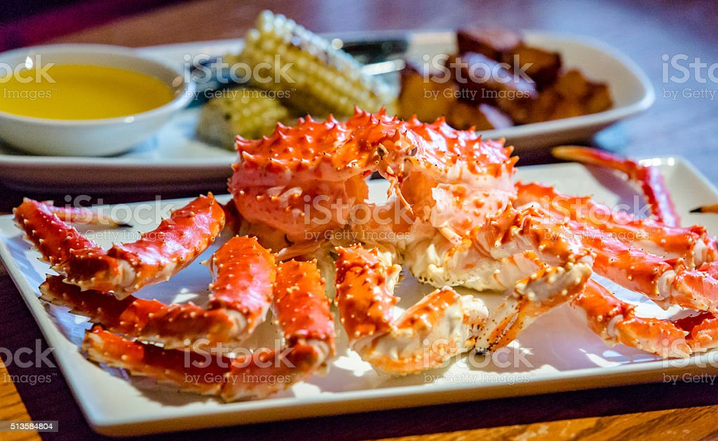 Steamed whole crab stock photo
