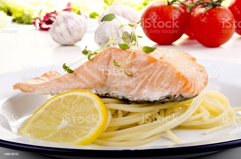 Steamed wild salmon and spaghetti royalty-free stock photo