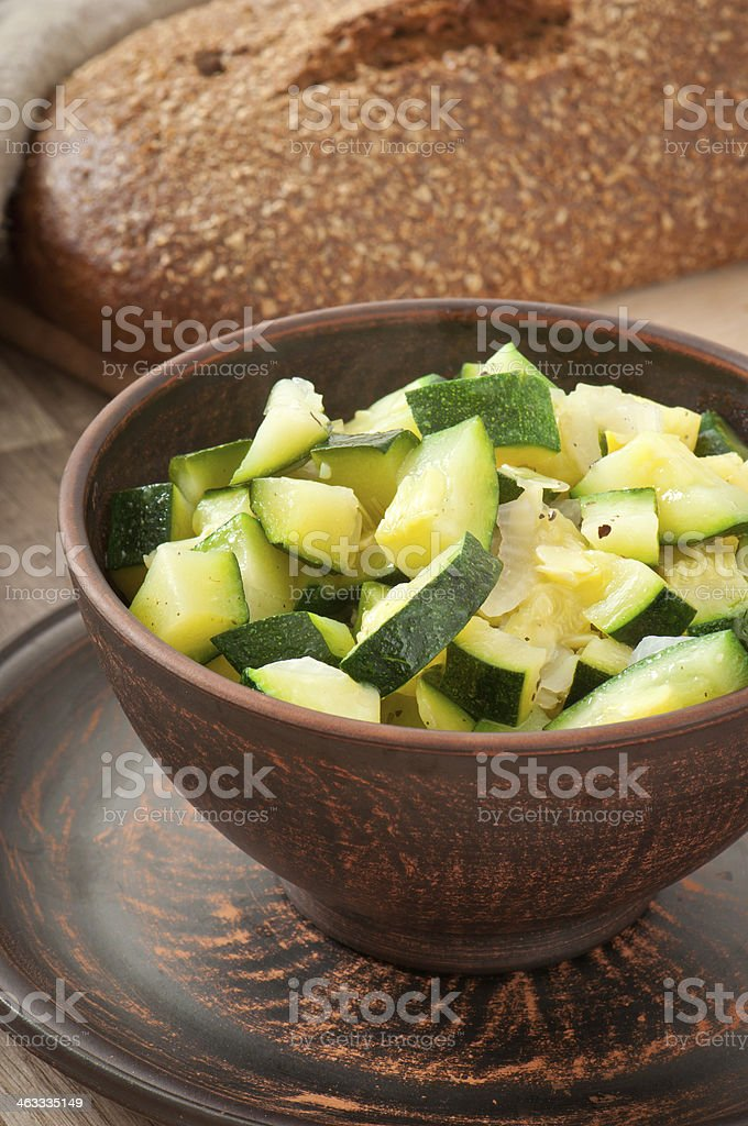 steamed zucchini with spices stock photo