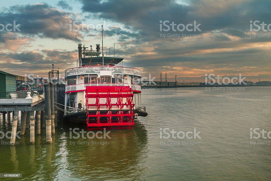 steamer at sunrise stock photo