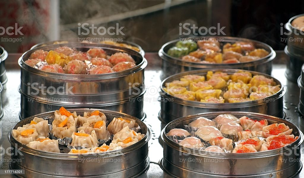 Steamers with Dim Sum Dishes stock photo