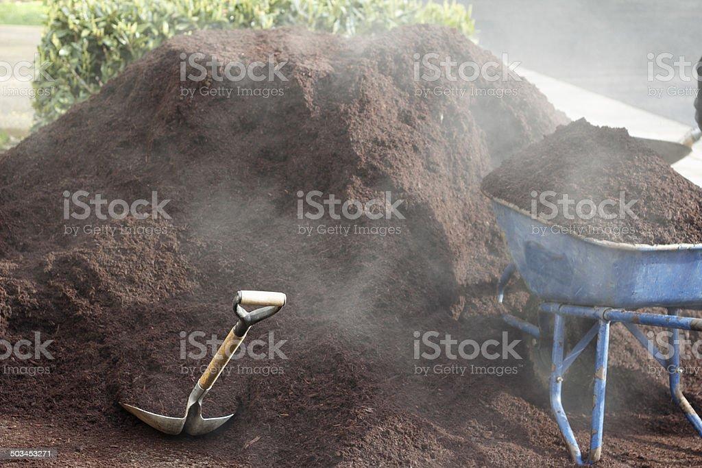 Steaming Bark Dust stock photo