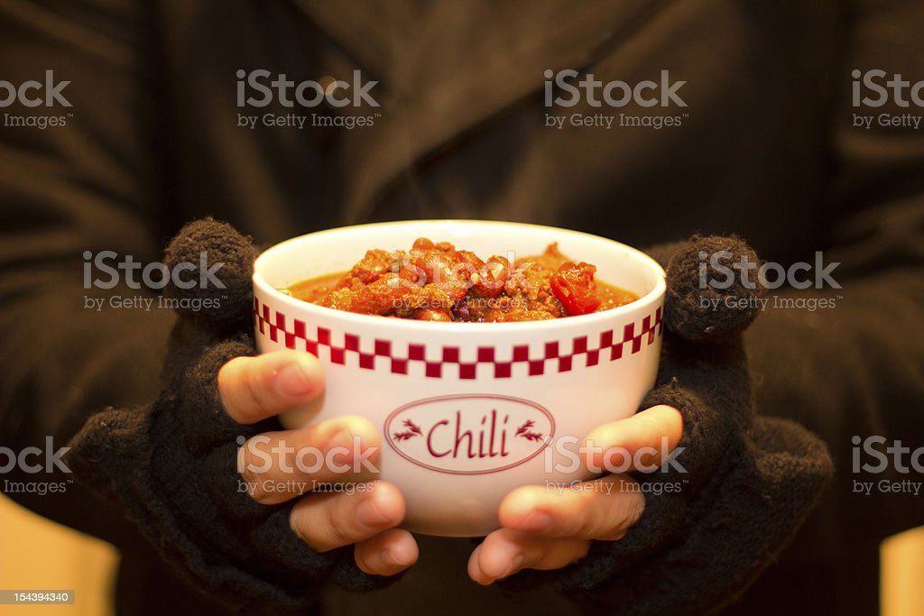 Steaming Bowl of Chili stock photo