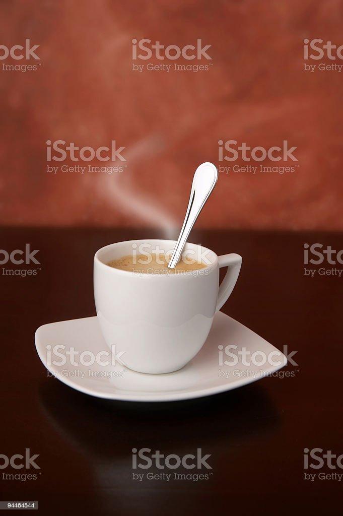 steaming cappuccino close stock photo