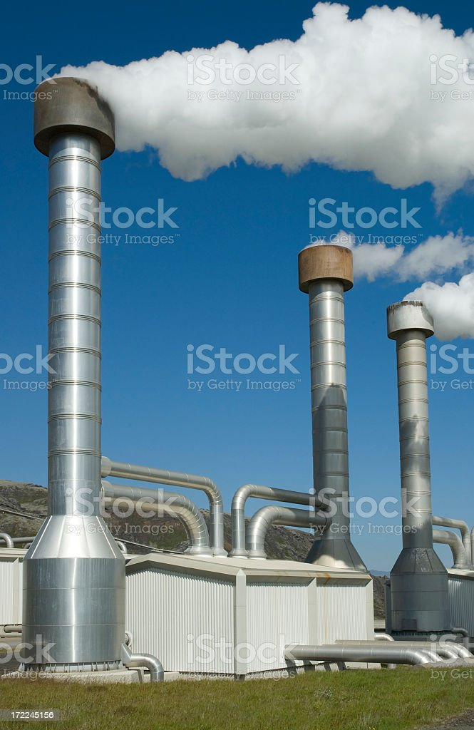 Steaming chimneys in Iceland royalty-free stock photo