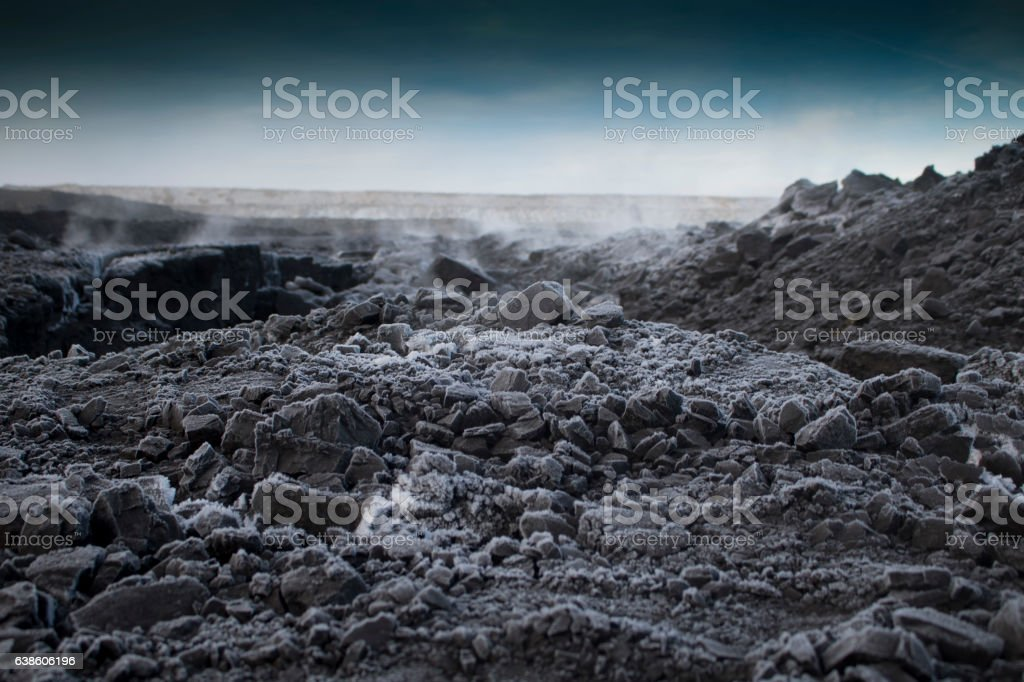 Steaming coal on cold morning... stock photo
