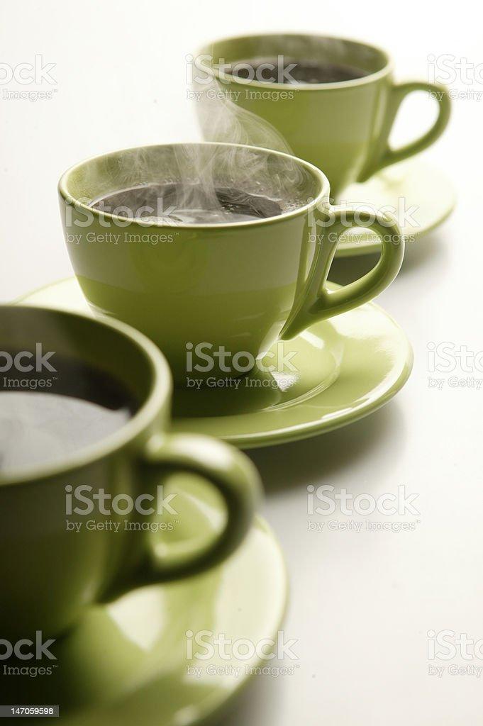 Steaming coffee mugs stock photo